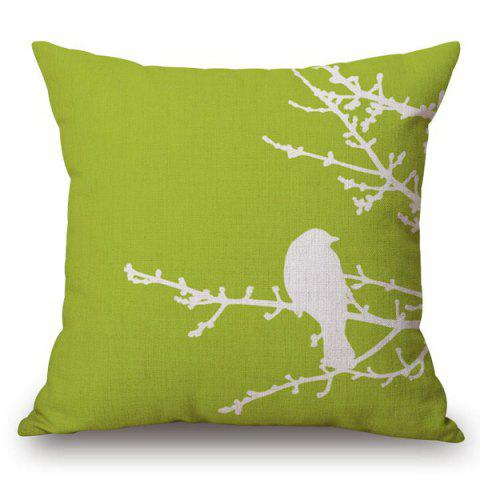 Chic Chic Bird Pattern Square Shape Flax Pillowcase (Without Pillow Inner)
