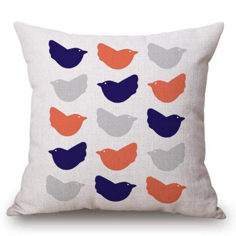 Buy Chic Simple Birds Pattern Square Shape Flax Pillowcase (Without Pillow Inner)
