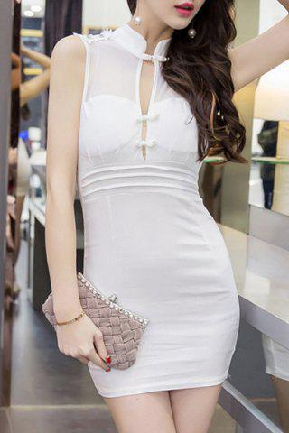 Outfits Charming Mandarin Collar See-Through High Waist Bodycon Dress For Women