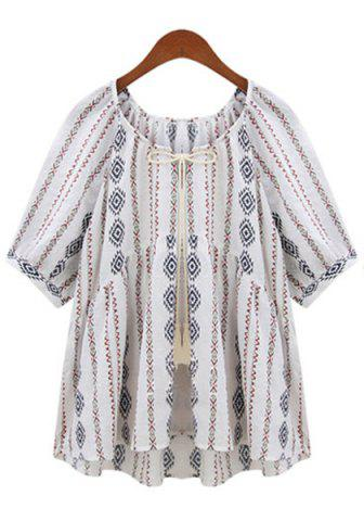 Discount Printed Tie Front Blouse with Tassel