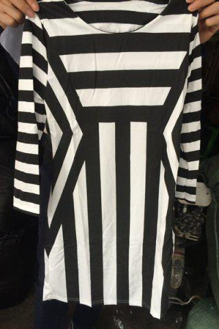 Trendy Stunning Round Neck 3/4 Sleeves Striped Dress For Women
