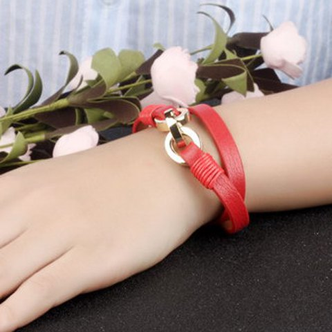 New Vintage Faux Leather Multilayered Bracelet For Women - RED  Mobile