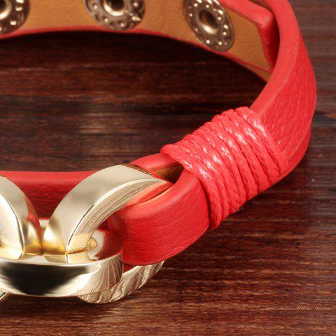 Outfit Vintage Faux Leather Multilayered Bracelet For Women - RED  Mobile