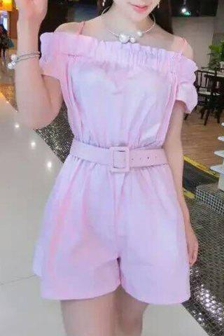 Strappy Solid Color Belted Romper For Women