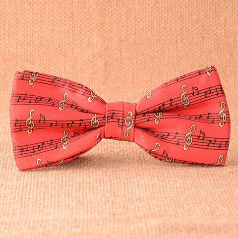 New Stylish Musical Notes Pattern Red Bow Tie For Men RED