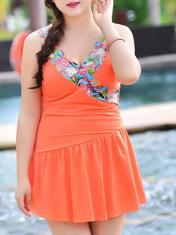 Online Sweet V-Neck Patchwork Flounce One-Piece Women's Swimsuit ORANGE 3XL