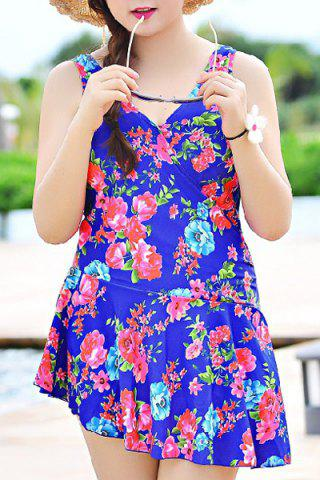 Sale V-Neck Sleeveless Floral Print Sun Swimsuit Dress BLUE 3XL