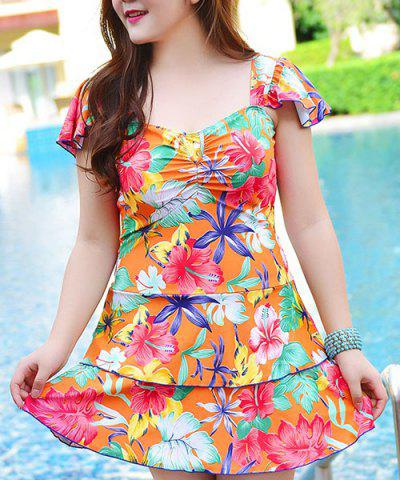 Trendy Sweet Square Neck Dolman Sleeves Layered Women's Swimsuit
