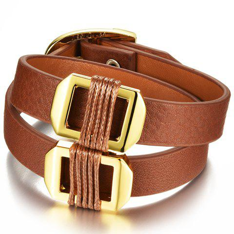 Hot Layered Faux Leather Hollow Out Bracelet ORANGE