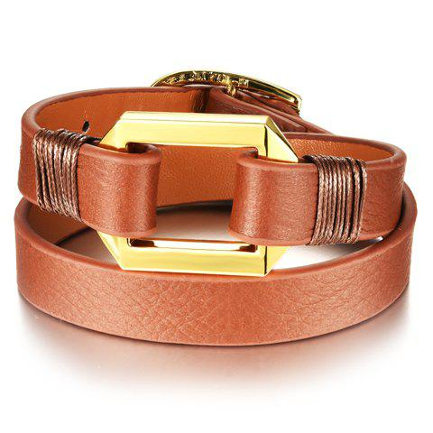 Cheap Graceful Layered Faux Leather Geometric Bracelet For Women