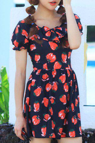 Shops Strawberry Printed One-Piece Dress Swimwear For Women