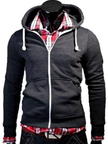 Online Color Block Zipper Fly Front Pocket Hooded Long Sleeves Hoodie For Men DEEP GRAY M