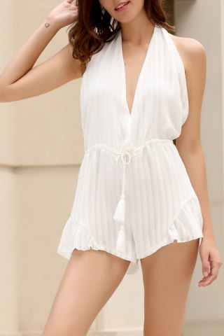 Halter White Backless Romper
