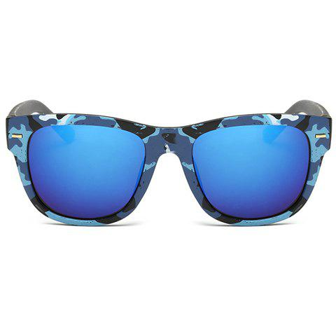 Store Stylish Short Stripe Shape Alloy Inlay Camouflage Pattern Sunglasses For Men - BLUE  Mobile