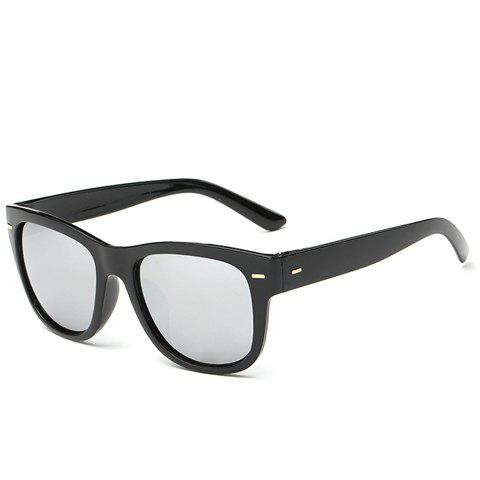 Hot Stylish Short Stripe Shape Alloy Inlay Black Sunglasses For Men SILVER