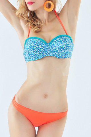 Sale Fresh Style Halter Neck Tiny Floral Print Braided Underwire Bikini Set For Women BLUE S