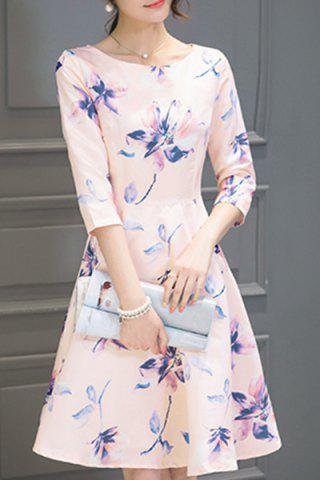 Shop Round Neck Floral Print Holiday Dress SHALLOW PINK S