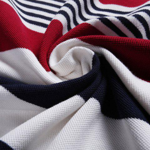 Outfit Color Block Spliced Design Stripe Turn-Down Collar Short Sleeve Polo T-Shirt For Men - 2XL WHITE Mobile