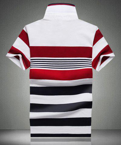 Outfits Color Block Spliced Design Stripe Turn-Down Collar Short Sleeve Polo T-Shirt For Men - 2XL WHITE Mobile