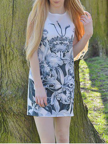 Affordable Novelty Round Neck Gray Floral Printed Sleeveless Dress For Women WHITE S