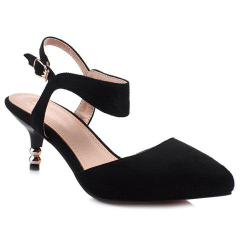 Hot Graceful Suede and Solid Colour Design Sandals For Women - 39 BLACK Mobile