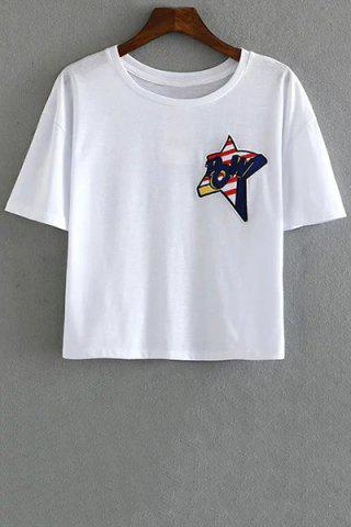 Best Stylish Round Neck Short Sleeve Star Embroidery Women's T-Shirt WHITE L