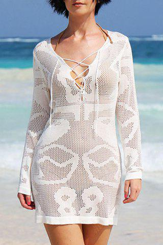 Trendy Stylish Plunging Neck Long Sleeve White Hollow Women's Cover-Up Dress