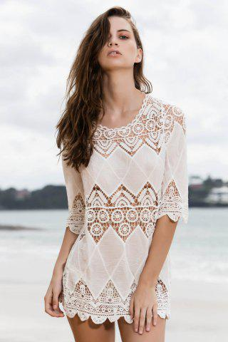Chic Stylish Round Neck 3/4 Sleeve Openwork Appliqued White Cover-Up