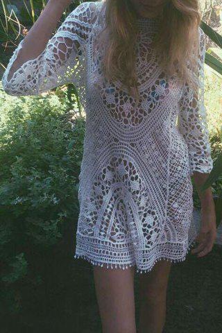 Sale Sexy Round Neck 3/4 Sleeve Hollow Out Women's Crochet Cover-Up