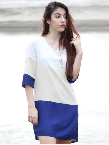 Unique Casual Scoop Neck Color Block 3/4 Sleeve Dress For Women - M PURPLISH BLUE Mobile