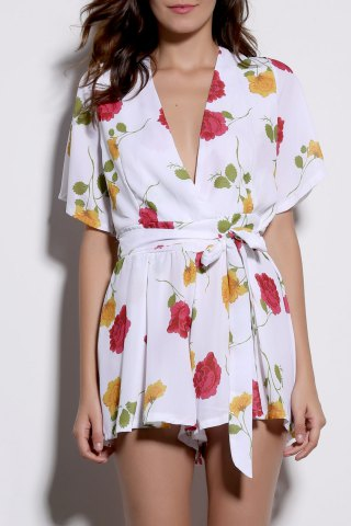 Online Alluring Plunging Neck Floral Print Pleated Women's Romper WHITE XL