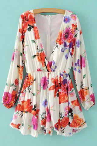 Shop Trendy Plunging Neck Long Sleeve Floral Print Romper For Women WHITE XL
