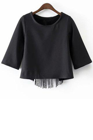 New Stylish Round Neck Half Sleeve Black Tassels Cut Out Women's T-Shirt BLACK L
