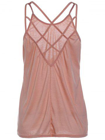 Unique Stylish Scoop Neck Criss-Cross Straps Tank Top For Women PINK S