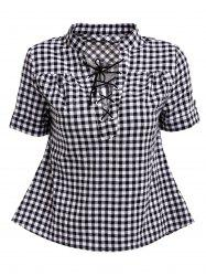 Stylish V-Neck Short Sleeve Lace-Up Plaid Blouse For Women