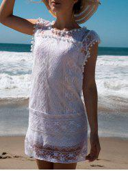 Scoop Collar Sleeveless See-Through Crochet Tunic - WHITE