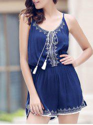 Casual Spaghetti Strap Sleeveless Embroidery Elastic Waist Romper For Women - PURPLISH BLUE S