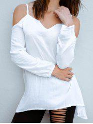 Stylish Spaghetti Strap Solid Color Long Sleeve Dress For Women - WHITE