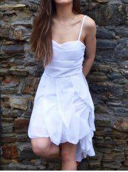Asymmetrical Flounce Slip Gothic Dress - WHITE