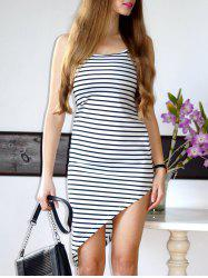 Stylish Spaghetti Strap Striped Asymmetrical Women's Dress - WHITE