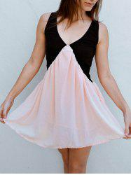 V Neck Two Tone Chiffon Short Dress -