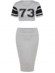 Stylish Round Neck Short Sleeve Crop Top + Bodycon Skirt Twinset For Women -