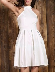 Chic Jewel Neck Sleeveless Solid Color Cut Out Women's Dress -