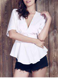 Sexy Plunging Neck Short Sleeve Flounce Asymmetrical White Blouse For Women