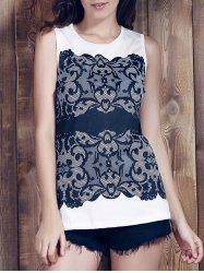 Chic Round Collar Sleeveless Lace Print Slimming Women's Tank Top