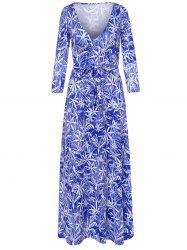 Long Sleeve Plunging Neck Leaf Print Dress - SAPPHIRE BLUE S