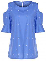 Sweet Round Collar Short Sleeve Star Print Cold Shoulder Plus Size T-Shirt For Women -