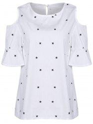 Sweet Round Collar Short Sleeve Star Print Cold Shoulder Plus Size T-Shirt For Women - WHITE 4XL