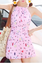 Refreshing Printed One-Piece Dress Swimwear For Women