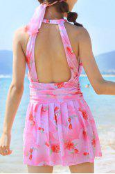 Sweet Printed Backless One-Piece Swimwear For Women -